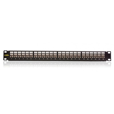 Patch panel, Cat. 5E, 24xRJ45/s, crni, popunjen